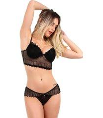 conjunto imi lingerie com bojo cropped em renda strappy sabrina preto - preto - feminino - renda - dafiti