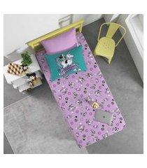 jogo de cama infantil joy minnie e unicórnio portallar