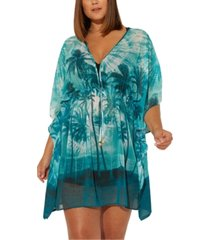 bleu by rod beattie plus size south of seas paradise printed caftan cover-up women's swimsuit