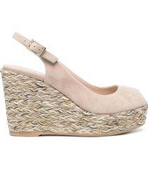 paul warmer 105mm peep-toe wedge sandals - neutrals