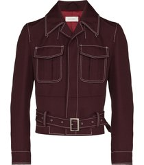 wales bonner buckle-fastening military jacket - red