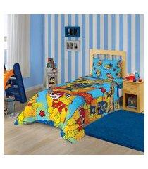 jogo de cama solteiro infantil lepper patrulha canina 2 peças azul