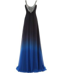 scoop neck crystals long gradient chiffon prom formal evening dresses black b...