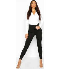 stretch booty shaping skinny jeans met hoge taille, zwart
