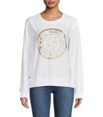 karl lagerfeld paris women's metallic-logo sweatshirt - white - size l