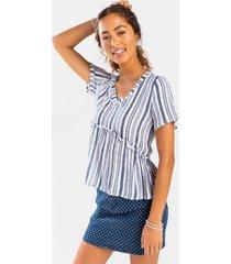 myrrah striped babydoll blouse - navy