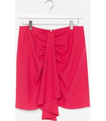 womens wrap over mini skirt - pink