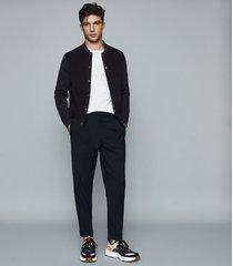 reiss brendan - suede fronted bomber jacket in navy, mens, size xxl