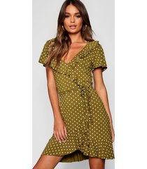 polka dot wrap front ruffle tea dress, olive