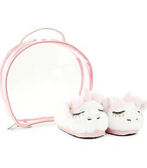 baby's 2-piece unicorn faux fur slippers & case set