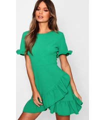 asymmetric ruffle hem shift dress, green