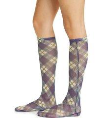 women's chopova lowena plaid mesh knee socks, size x-small/small - blue
