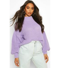 oversized balloon sleeve crop sweater, lilac