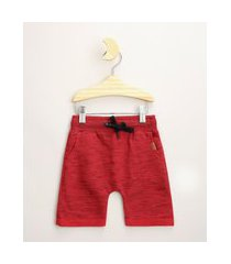 bermuda de moletom infantil básica com cordão e bolsos vermelha