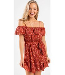 lima floral front tie mini dress - rust