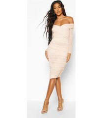 off shoulder ruched mesh bodycon midi dress, nude