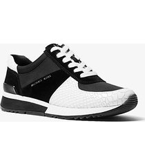 mk sneaker allie in pelle stampa serpente e pelle scamosciata - bianco ottico/nero (nero) - michael kors