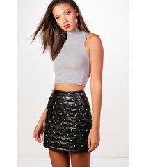 tall high neck crop top, grey marl