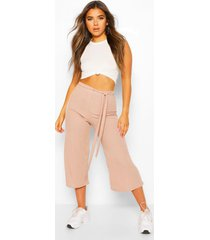 petite rib belted wide leg culottes, stone
