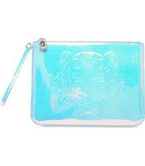 kenzo designer handbags, white preppy tiger embossed eco-leather clutch