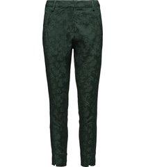 angelie 325 split, sateen green jacquard, pants byxa med raka ben grön fiveunits