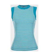 regata feminina tricot listrada - azul p