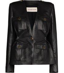 alexandre vauthier leather military jacket - black