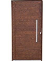 porta social pivotante alumínio madeira alumifort 216x100x8cm abertura esquerda com lambris horizontais e puxador - sasazaki - sasazaki