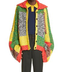 men's jw anderson anchor logo patchwork intarsia cardigan, size one size - red