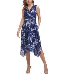 jessica howard floral-print shirred-waist asymmetrical-hem dress