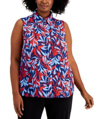 bar iii plus size printed blouse, created for macy's