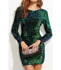 round neck long sleeve bodycon sequin dress short party cocktail clubwear