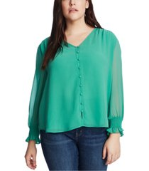 1.state plus size sheer long-sleeve top