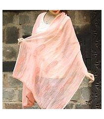 cotton and silk blend shawl, 'peach paisley dreams' (india)