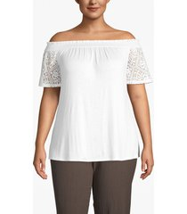lane bryant women's lace-sleeve convertible neckline top 14/16 white