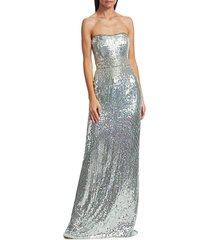 jenny packham women's mirabelle strapless sequin gown - silver - size uk 16 (14)