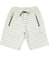 brunello cucinelli cotton and linen striped french terry bermuda shorts