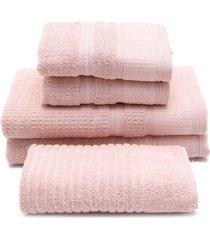 jogo de banho 5 pçs buddemeyer windsor rosa 70 x 135