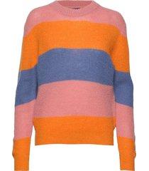 d1. striped woolblend crew stickad tröja multi/mönstrad gant