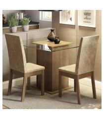 conjunto sala de jantar madesa cau mesa tampo de vidro com 2 cadeiras rustic/imperial rustic