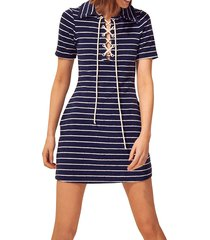 solid and striped women's the polo sailor dress - navy white - size s