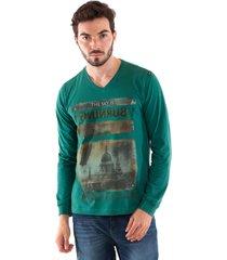 camiseta konciny estampada decote v verde