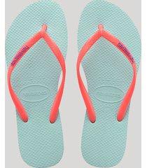 chinelo feminino havaianas slim logo pop up azul claro