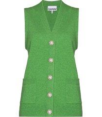 ganni crystal-button cashmere vest - green