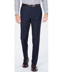 cole haan men's grand os slim-fit wearable technology plaid suit pants