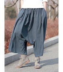 pantaloni harem elastici in vita solidi