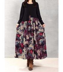 donna abito sciolto di patchwork con stampa floreale e foglie a maniche lunghe