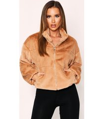 faux fur quilted zip front jacket, camel