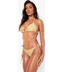 gekruiste driehoekige bikini top, gold