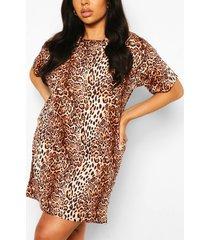 plus leopard oversized tshirt dress, brown
